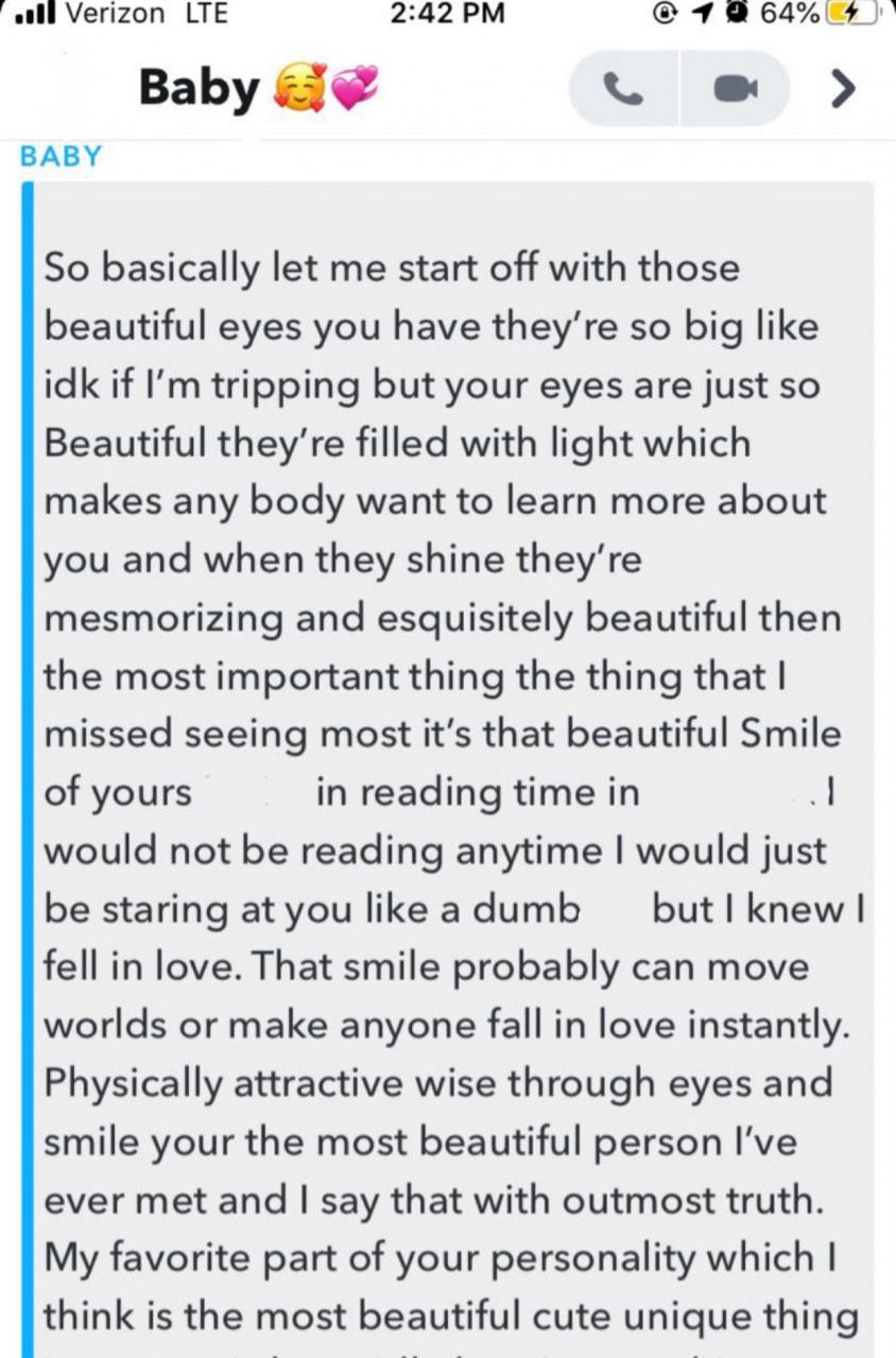 Crushing Hard: anonymous MACES student's snapchat conversation with love interest.