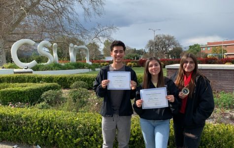 BRINGING IT! Wolfpack Times staff (shown Left to Right) Andres Flores, Leslie Chang, Kate De La Torre place at Southern California Journalism Education Association Regional Media Competition at CSUN.