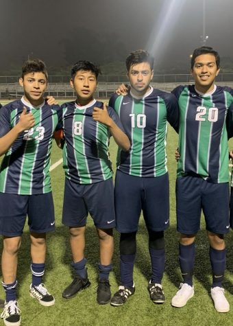 Soccer Stars- Left to Right, Andres Gonzalez, Jorge Irapan, Edwin Meza, and Jason Rubio