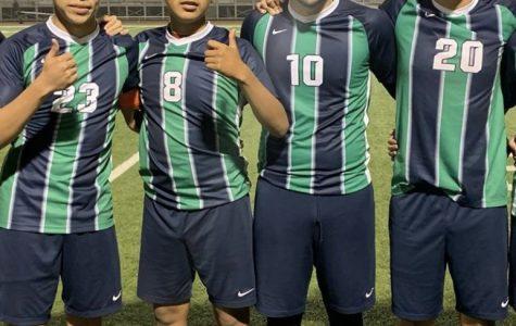 Soccer Stars- Left to Right, Andres Gonzalez, Jorge Irapan, Edwin Meza, and Jason Rubio