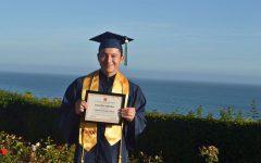 MACES Class of 2020 Co-Valedictorian, Daniel Gonzalez in his cap and gown.