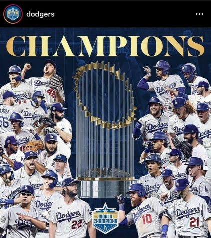 A post from the Dodgers on the night of their championship win. The Dodgers worked hard to make it to their 7th title after so many unsuccessful years.