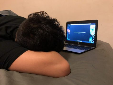 "SLEEPING THROUGH CLASS- A big concern for students is the effect distance learning will have in the long and short term as students struggle to stay engaged during class. ""It's really hard to focus and pay attention when I'm in my own comfort zone than when we were in school where I had a working environment."" Anthony Juarez, a freshman, said"