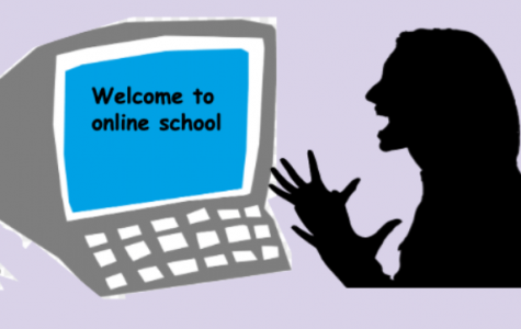 A student is not so excited to be doing online school.