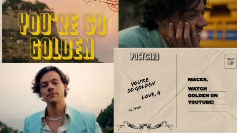 "GOLDEN LOOKS- Harry Styles wears a Gucci blazer and an Eliou beaded necklace in his newest music video. Styles admits that ""Golden"" is one of his favorite tunes from his Fine Line Album. ""I used to drive to the studio, and it's the perfect PCH [Pacific Coast Highway] song. It's like driving down the coast is what the song is for,"" Styles said."