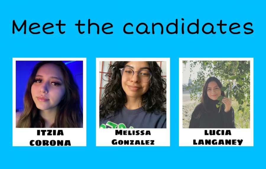 The candidates running for the position of ASB vice-president are Itzia Corona, Melissa Gonzalez, and Lucia Langaney (in alphabetical order). Itzia is involved in sideline and competitive cheer and yearbook. Melissa is a member of the National Honors Society, MESA, Class of 2023 club, softball, and ASB. Lucia is a member of the National Honors Society, MESA, Interact club, girls volleyball, and Girls Who Code.
